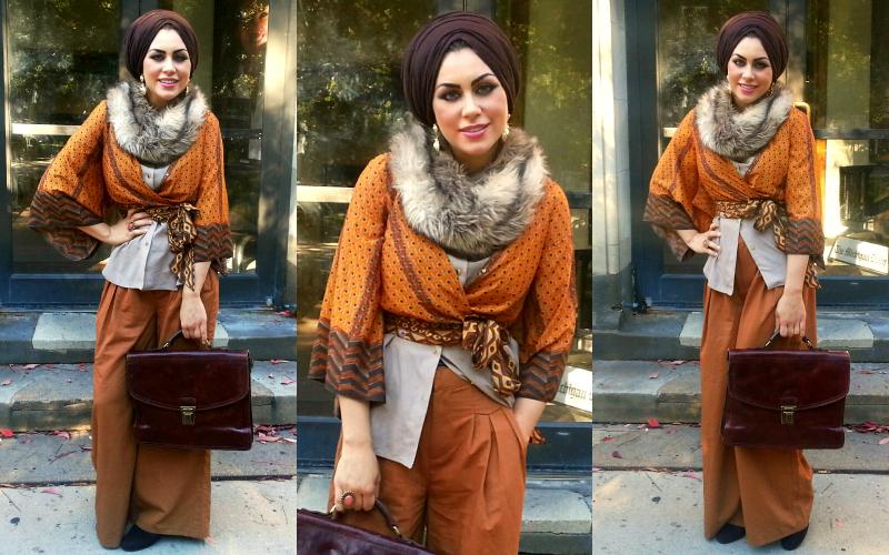 296bea3c68bb Scarf: Egypt, faux fur: H&M, ethnic patterned wrap around kimono: Forever 21,  studded jersey-chiffon mix shirt: H&M, wide legged pants: ASOS, leather  bag: ...
